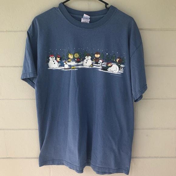 e9a9e7eae Peanuts Shirts | Winter Scene Blue T Shirt Mens Large | Poshmark